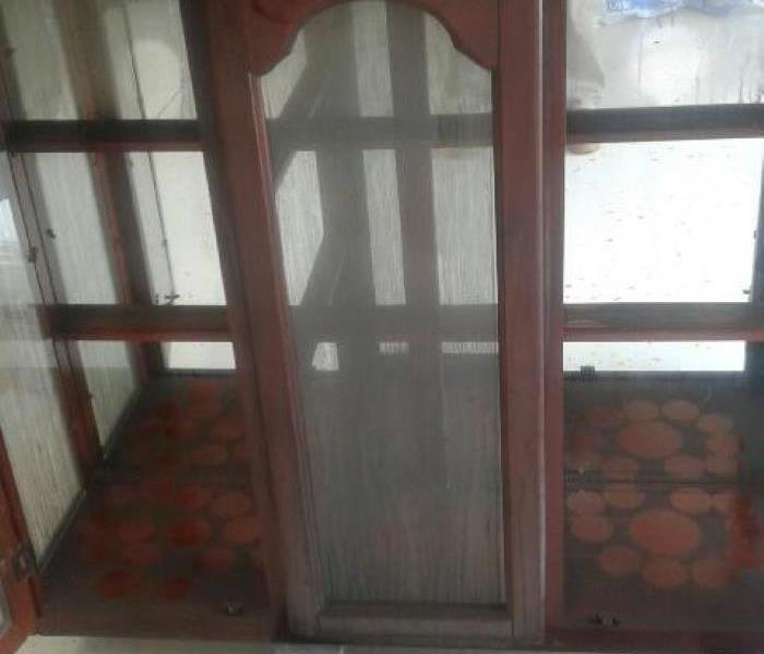 Smoke Damaged China Cabinet in Irmo, SC Before