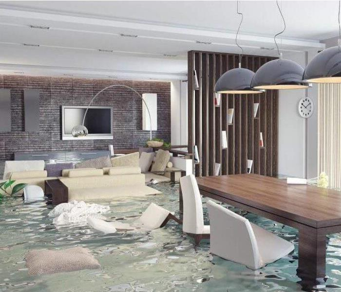 A living room is flooded with rushing water